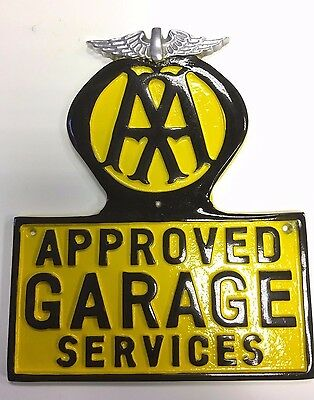 AA Cast Sign Vintage AA Garage Sign in Cast Metal with Polished Wings AA Logo