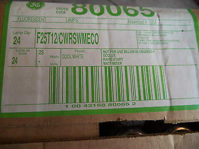 "Case Of 24 Ge F25T12/cw/rs/wm/eco F25T12 36"" Bulbs 25 Watt Cw 80065"