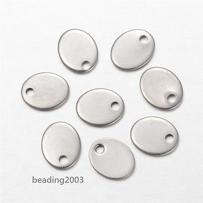 20pcs 304 Stainless Steel Oval Charms Pendants Blank Stamping Tag 9x7x1mm