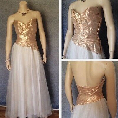 Bombshell 1950s Gold Lamé And White Tulle Wedding / Formal Gown Size Sm