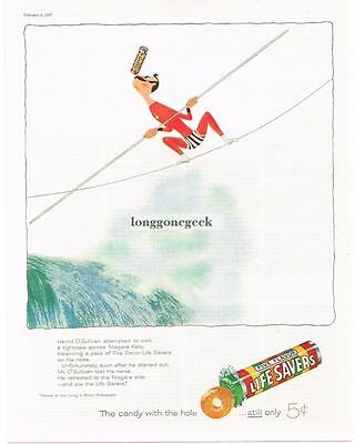 1957 Life Savers Candy Five Flavors Tightrope Walker Waterfall art Vtg Print Ad
