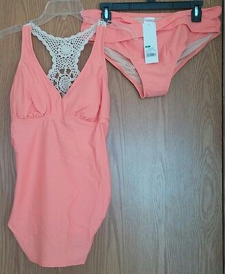 Womens Liz Lange maternity 2 pc tankini camellia top/bottoms crochet back md NWT