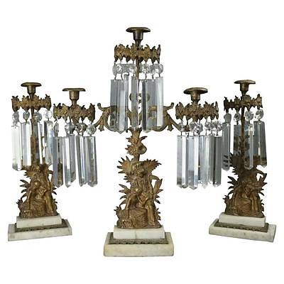 Antique 3-Piece Early Bronze, Marble and Crystal Girandole Set Colonial Scene