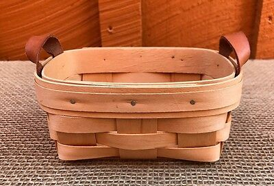 Royce Craft Basket - small basket w/leather handles, made in Ohio -FREE SHIPPING