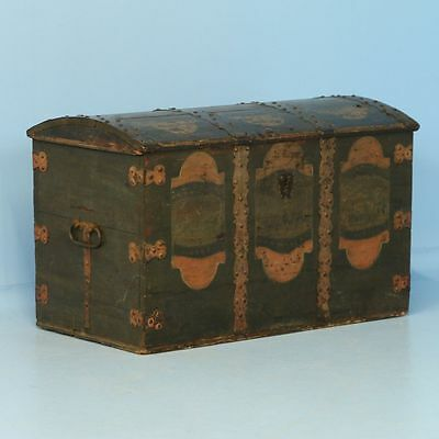 Antique 19th Century Trunk from Sweden with Original Green Paint