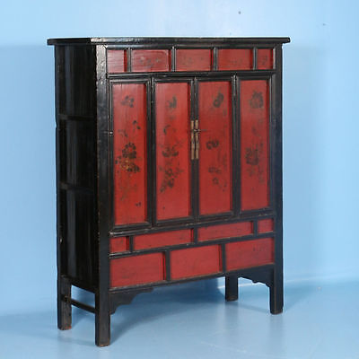 Antique 19th Century Chinese Red Lacquered Cabinet With Flowers
