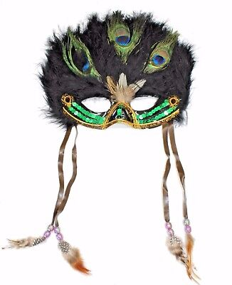 Mardi Gras Mask  for Halloween Coxeer Venetian Feather Masquerade Mask M109