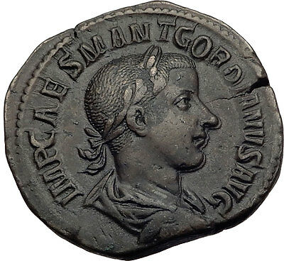 GORDIAN III 238AD Rome Sestertius Authentic Ancient Roman Coin VIRTVS AVG i64023