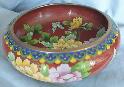 "Chinese Cloisonne Flowered Bowl  8"" d."