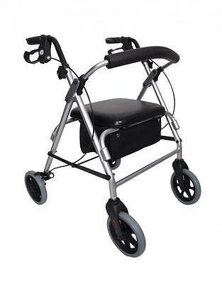 Angel Mobility Lightweight Folding Rollator Zimmer Frame 4 Wheels with Seat