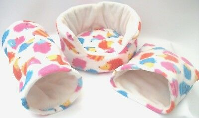 "** 3 Piece Set** Cozy Pets  Guinea Pig Bed,house,pouch, Tunnel ""free Uk Postage"""