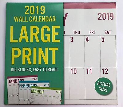 New 2019 Wall Calendar Appointment Planner Large Print/ Big Block/ Easy To Read!