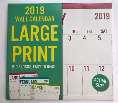 New 2018 Wall Calendar Appointment Planner Large Print/ Big Block/ Easy To Read