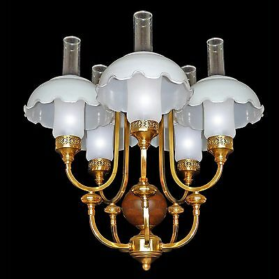 Antique Fabulous French Art Deco Colonial Revival Oil Lamp 5 Light Chandelier