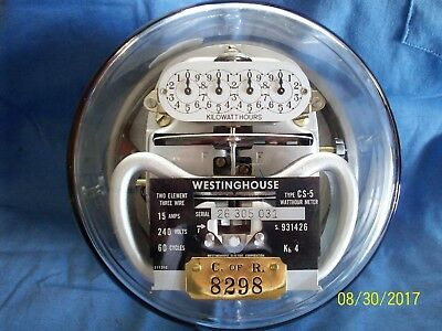 Westinghouse Type CS-5 Commercial Electric Meter 240 volt 3 wire Vintage Works!