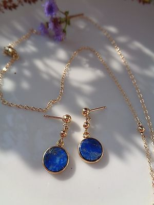 Gold Ohrringe in 585 Goldfilled mit Lapislazuli, Gold Ohrstecker