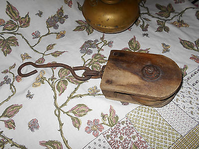 Antique Wooden Wheel Barn Pulley Block & Tackle~Cast Iron Hardware~