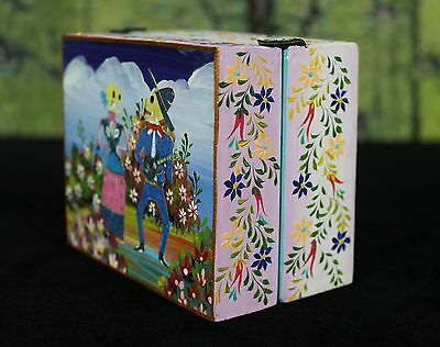Small Wood Box Day of the Dead Couple Hand Painted Flowers Folk Art Peru Muertos