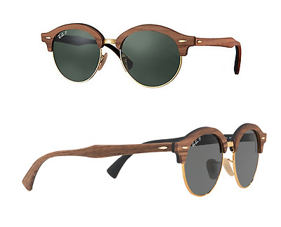 NEW Rayban sunglasses RB4246M 1181/58 Wood Round Clubmaster Polarized G15 Grey