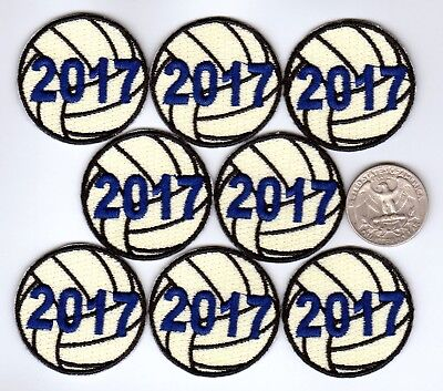Volleyball 2017 Iron On Patches - 8-pack  1.5 inch diameter