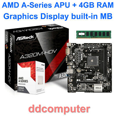 AMD A10-9700 4 CPU Core + 6 GPU Core R7 Radeon Graphics MB 4GB RAM HDMI DVI VGA