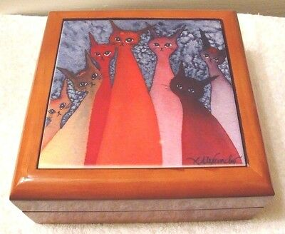 Cat Wood Jewelry Box Art CASABLANCA STRAY CATS Watercolor Replica Lori Alexander