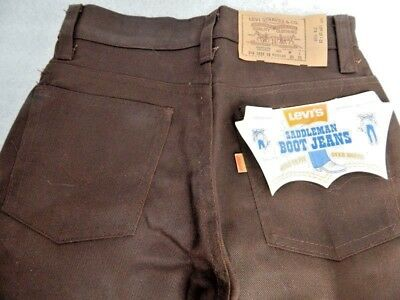 Nos Vintage Brown Levis Saddleman Boot Jeans Western Trousers Pants Boys Kids 10