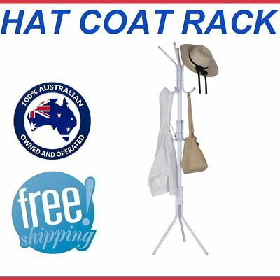 Coat Hanger Stand 3-Tier Hat Clothes Metal Rack Tree Style Storage White Hooks B