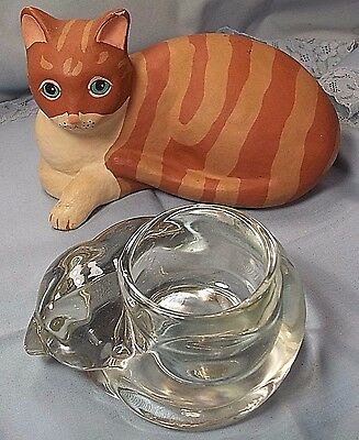 Cat Statue Hand Painted Glass Tea Light Candle Holder Vintage Lot