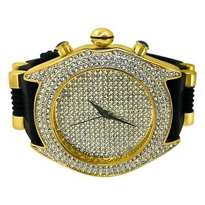 Gold Iced Out Hip Hop Mens Jumbo Watch