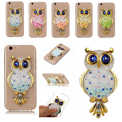3D Ultra-thin Owl Bling Quicksand Stand Cute TPU Case Cover For Various Phone