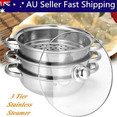 3 Tier Stainless Steel Steamer Induction Compatible Cookware 28cm Steam Pot AU