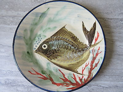 Handpainted Pottery Fish Plate Diaz Costa La Bisbal