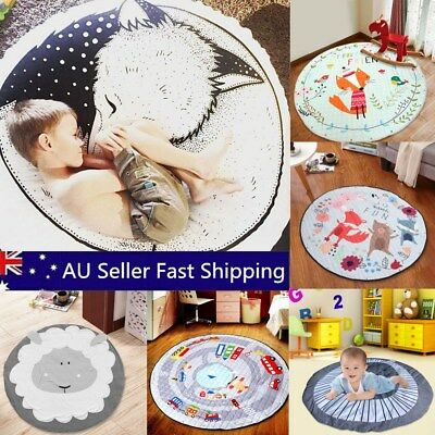 Cartoon Round Tummy Time Baby Kid Gym Play Mat Activity Blanket Storage Rug