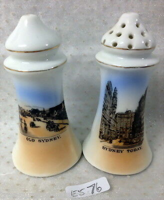 ✿•*¨*•✿ Salt & Pepper Shakers Old Sydney & Sydney Today Made Czechoslovakia