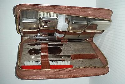 Vintage gentleman's vanity kit in ground leather case Made in West Germany