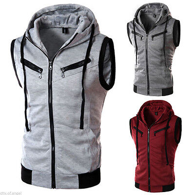 Men's Sleeveless Hoodie Hoody Vest Sport Zipper Jacket Gilet Hooded  Waistcoat
