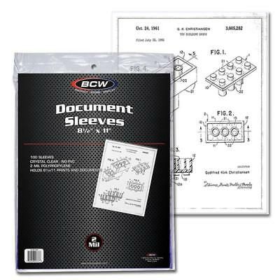 Pack of 100 Sleeves BCW 8½X11 Document Sleeves Toploaders (#CS07)
