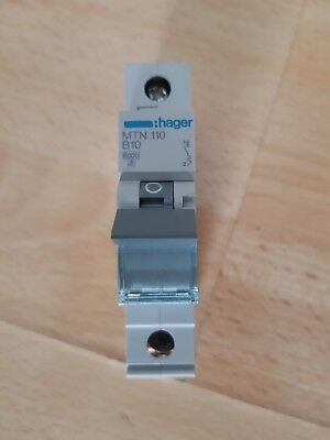 1x 10a Hager Circuit Breaker MCB MTN 110 B10 Single Pole Type B