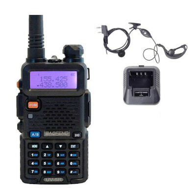 Baofeng UV-5R VHF/UHF Dual Band USB Two Way Ham Radio Walkie Talkie Earphone UK