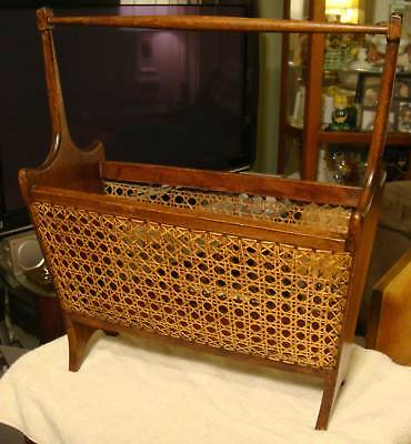 Antique Vtg Z1 Caned Wood Sewing Stand Holder Basket Gio Ponti Italy OLD NICE NR