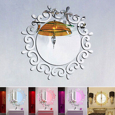 Removable 3D Feather Mirror Wall Sticker Room Decal Mural Art DIY Home Decor