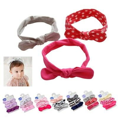 AU 3pcs Set Newborn Baby Kids Elastic Headband Infant Bow Knot Hair Band Decor