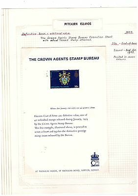 Pitcairn Island 1973 50c Coat of Arms CROWN AGENTS PROMOTIONAL SHEET SCARCE