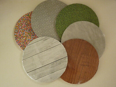 "Round Patterned Cake Board 10"" or 12""-Grass Wood Concrete Sprinkles CheckerPlate"