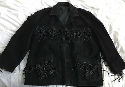 Natural Black Leather Suede Jacket With Tassels Large Made In Italy Size 52