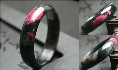 Beautiful Peach Blossom Hetian Jade Bangle 100% Natural Hand-Carved Bracelet