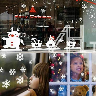 38x White SNOWFLAKES WINDOW STICKERS SELF CLINGS  Reusable Christmas Decorations