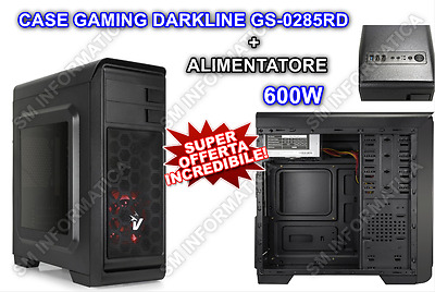 Case Pc Gaming Atx Porte Usb 2.0/3.0 Ventola 12Cm Led Alimenatore 600W Desktop