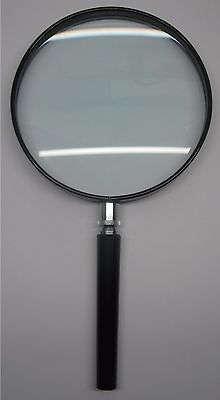 #1486 Handlupe Lupe 2X Ø 130 mm. Glas-Linse / hand held magnifier glass lens